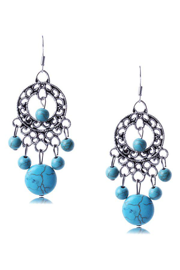 Pair of Trendy Bohemia Turquoise Round Earrings For Women - SILVER