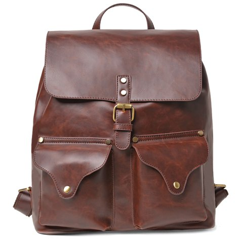 Vintage Drawstring and Pin Buckle Design Backpack For Men - COFFEE