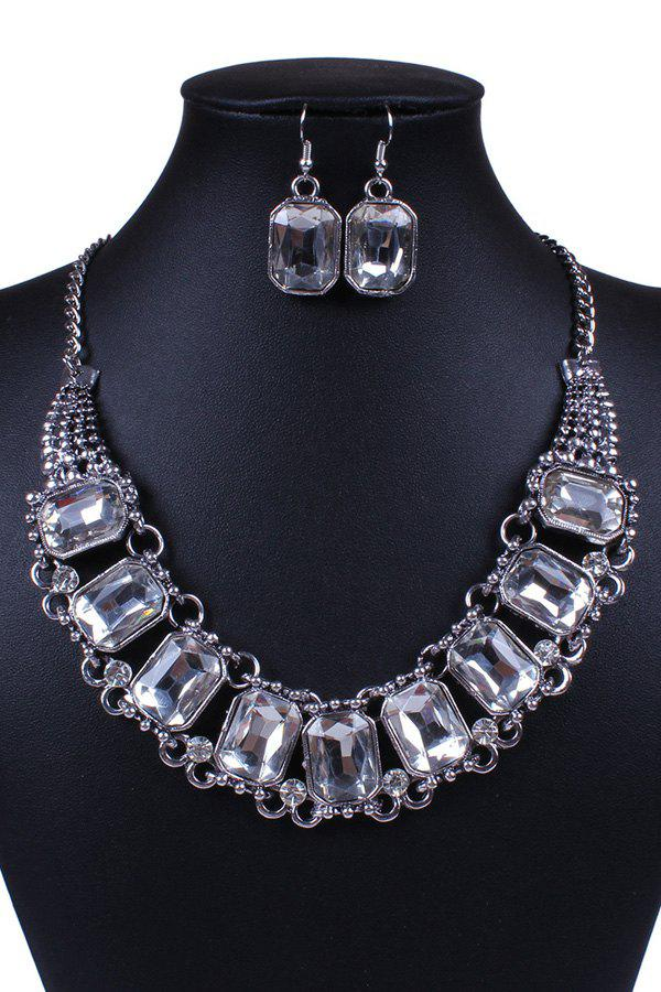 A Suit of Retro Faux Crystal Rectangle Necklace and Earrings For Women - SILVER