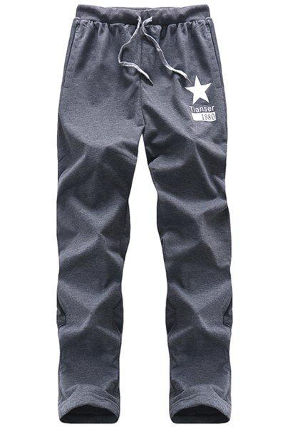 Star Printed Lace Up Long Sports Pants For Men - DEEP GRAY XL