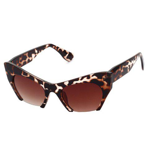 Chic Flecky Cat Eye Semi-Rimless Frame Women's Sunglasses - DEEP BROWN