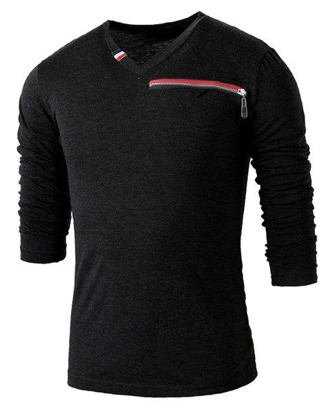 Slimming V-Neck Long Sleeve Zipper Design Men's T-Shirt