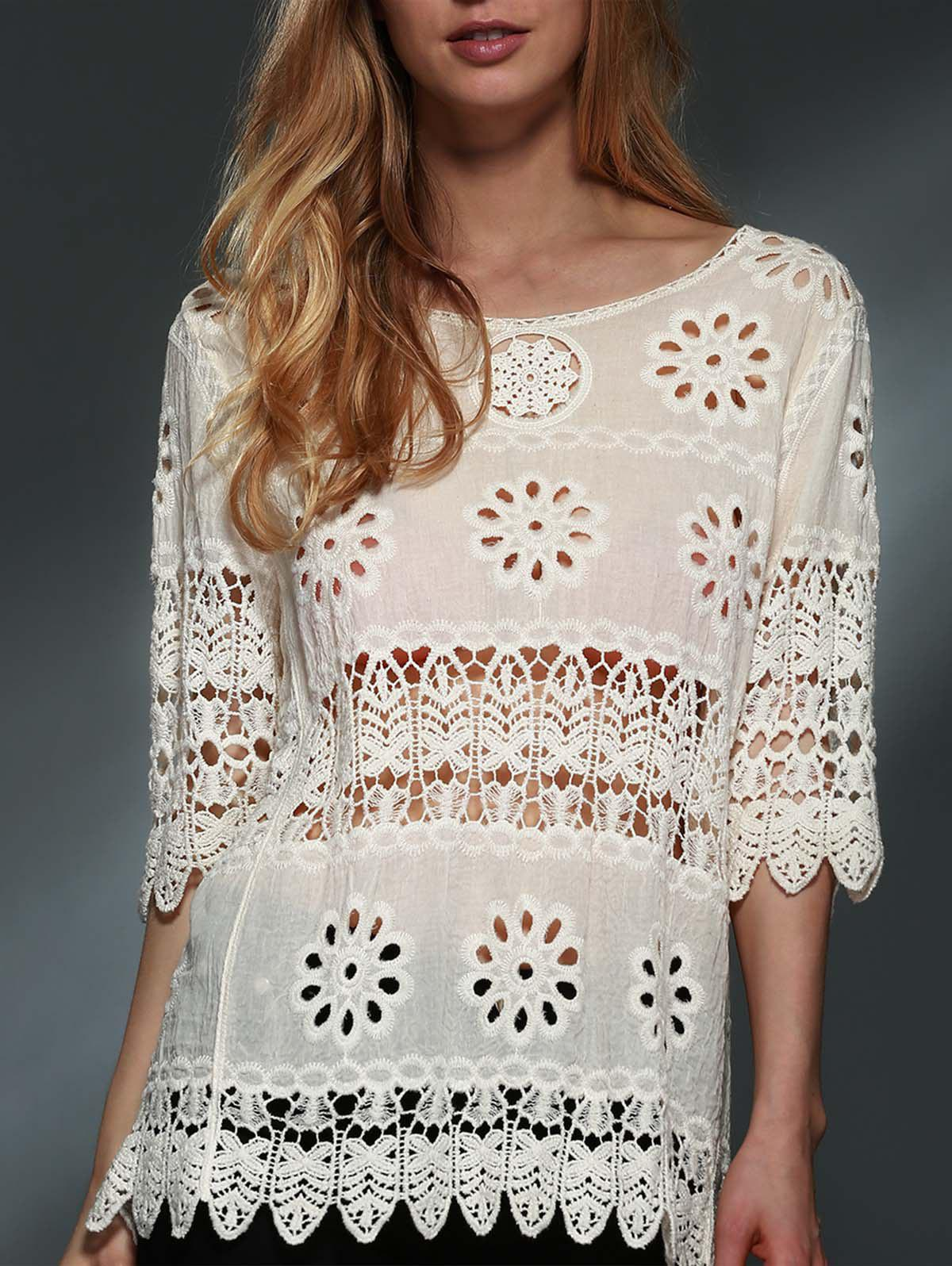 Stylish Scoop Neck 3/4 Sleeve Hollow Out Crochet Women's Blouse - OFF WHITE ONE SIZE(FIT SIZE XS TO M)