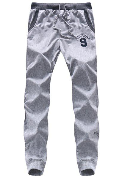 Number Printed Lace Up Long Sports Pants For Men - LIGHT GRAY 2XL