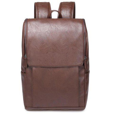 Casual PU Leather and Solid Color Design Backpack For Men - KHAKI