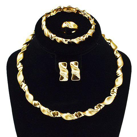 A Suit of Charming Rhinestone Spiral Necklace Bracelet Ring and Earrings For Women - GOLDEN ONE-SIZE