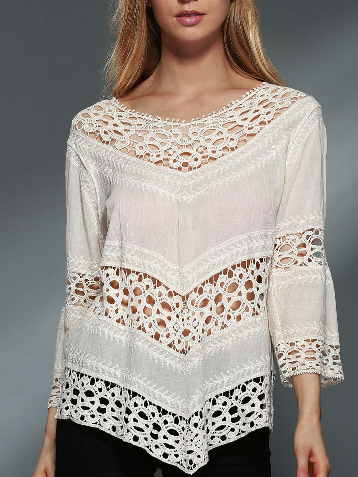 Stylish Scoop Neck 3/4 Sleeve Hollow Out Asymmetrical Women's Blouse - OFF WHITE ONE SIZE(FIT SIZE XS TO M)