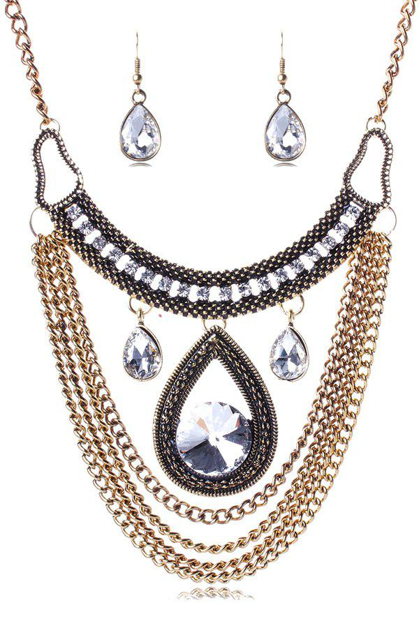 A Suit of Noble Multi-Layered Faux Crystal Water Drop Necklace and Earrings For Women - GOLDEN