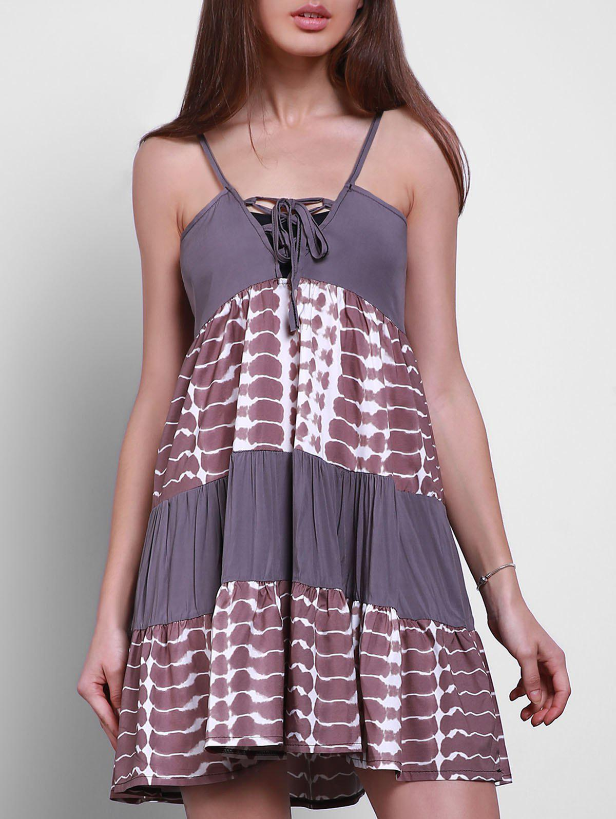 Casual Style Spaghetti Strap Sleeveless Digital Print Lace-Up Women's Sundress - GRAY L