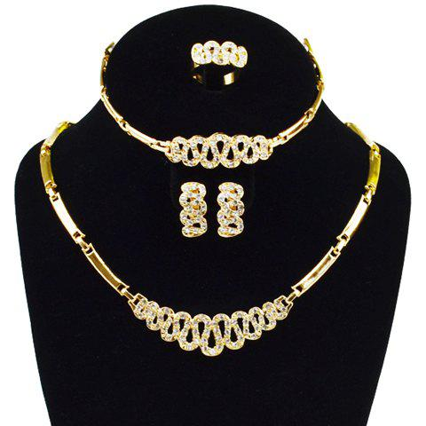 A Suit of Hollow Out Rhinestone Necklace Bracelet Ring and Earrings - GOLDEN ONE-SIZE