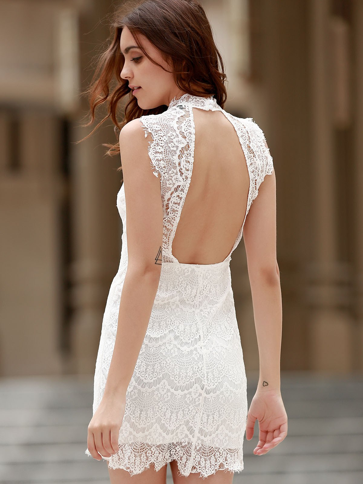 Sexy Sleeveless Stand Collar Pure Color Women's Lace Dress - WHITE S