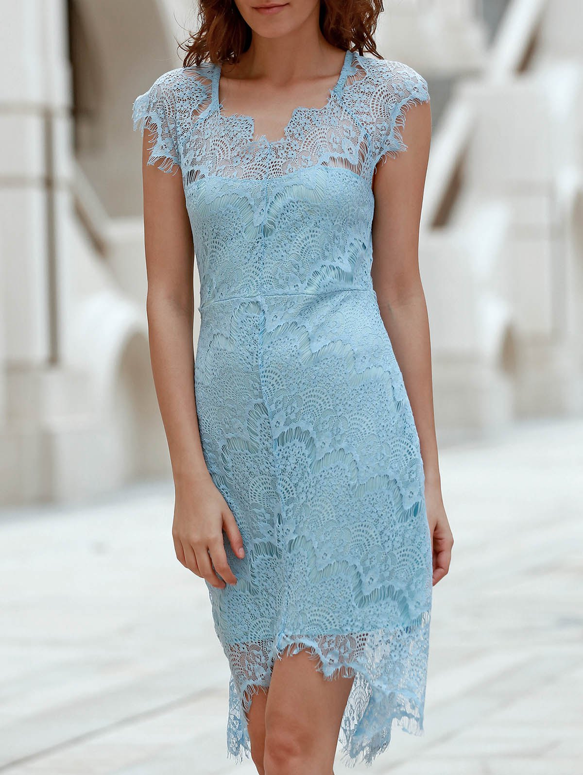 Alluring Sleeveless Scoop Neck Cut Out Women's Lace Dress - LIGHT BLUE S