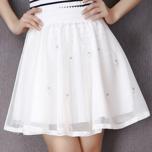Sweet Style Elastic Waist Beading A-Line Women's Skirt - WHITE ONE SIZE(FIT SIZE XS TO M)