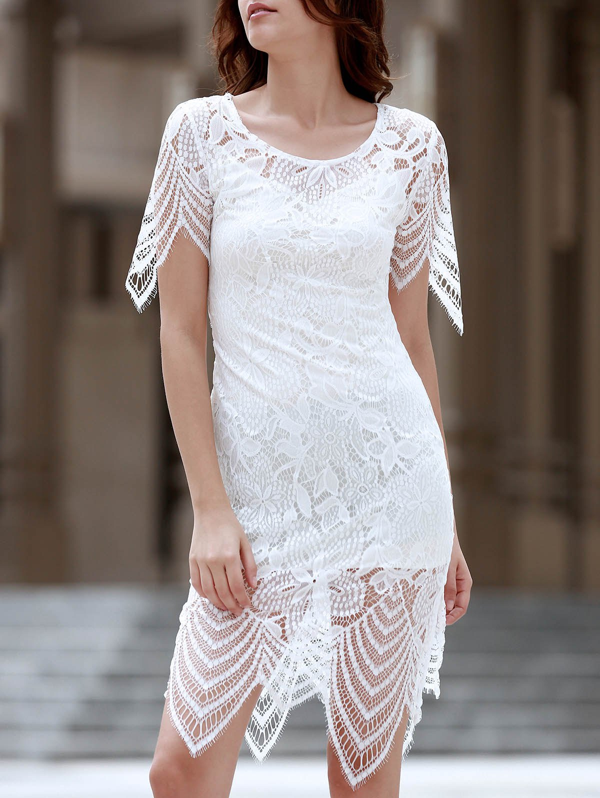 Sexy Half Sleeve Round Neck Cut Out Women's Lace Dress