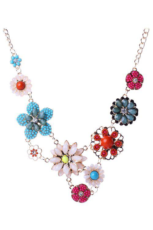 Delicate Faux Crystal Floral Pendant Necklace For Women - COLORMIX
