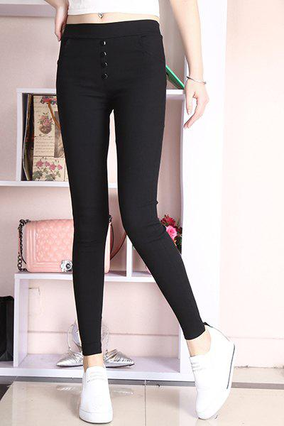 Simple Elastic Button Embellished High-Waisted  Women's Leggings - BLACK M