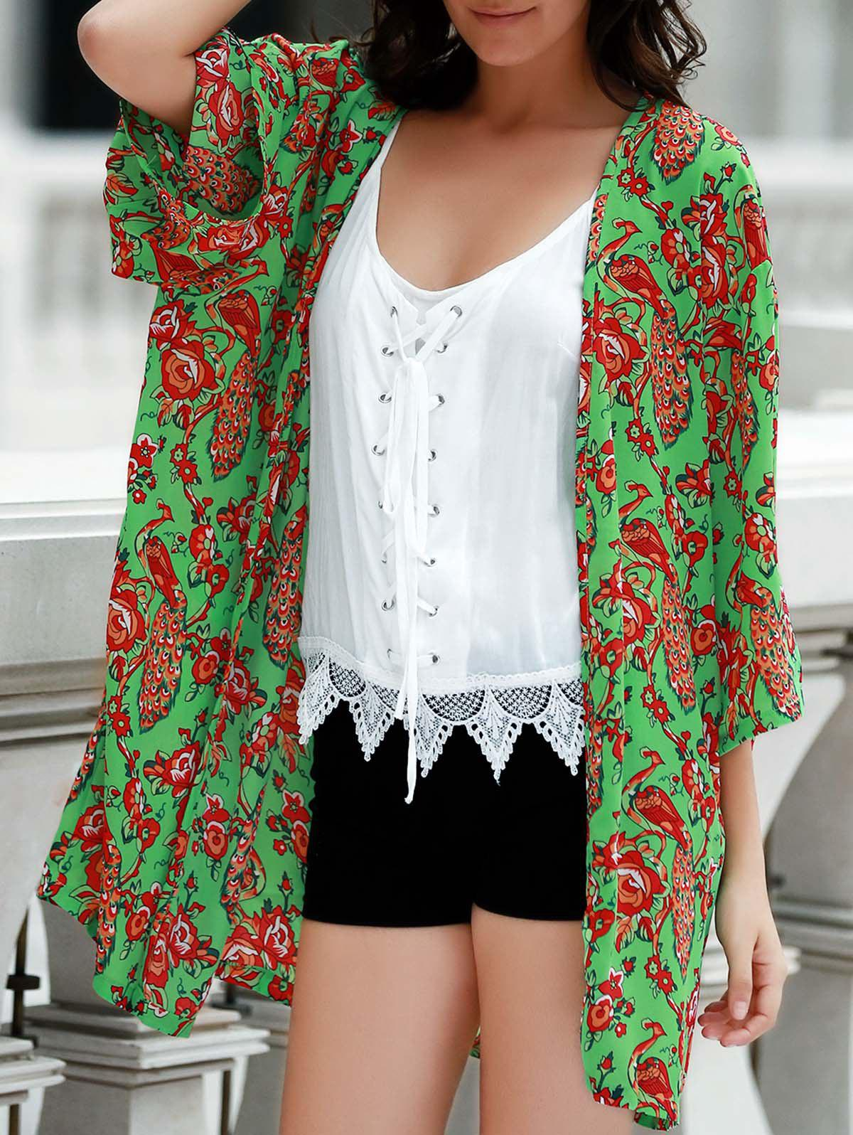 Stylish Women's Collarless Loose-Fitting Print Kimomo Blouse - GREEN XL