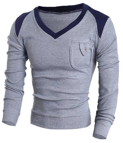 V-Neck Color Block Splicing Pocket Design Long Sleeve Men's Sweater advanced fundus of uterus examination and evaluation simulator fundus of uterus exam