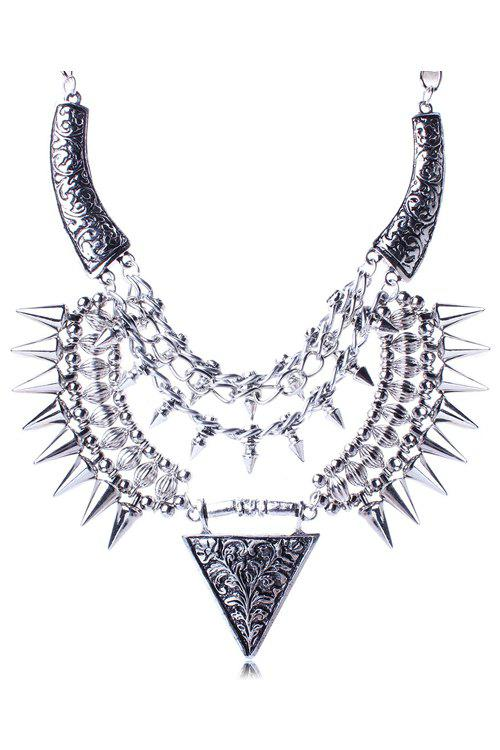 Punk Carving Triangle Rivet Necklace For Women - SILVER