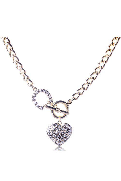 Dazzling Rhinestoned Heart Decorated Necklace For Women - GOLDEN