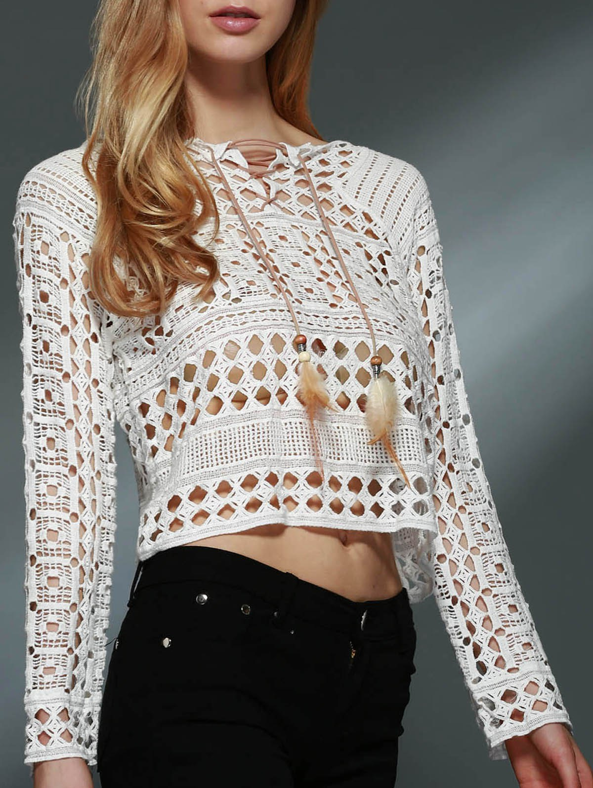 Stylish Round Neck Long Sleeve Lace-Up Hollow Out Women's Blouse - WHITE ONE SIZE(FIT SIZE XS TO M)