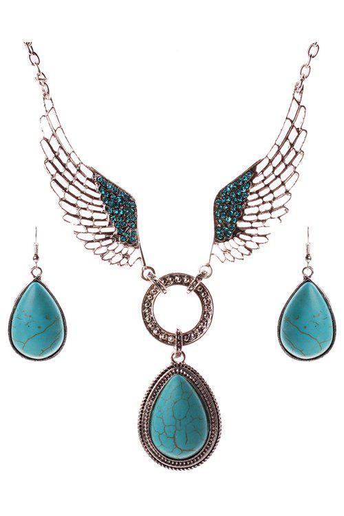 A Suit of Trendy Turquoise Water Drop Wing Necklace and Earrings For Women