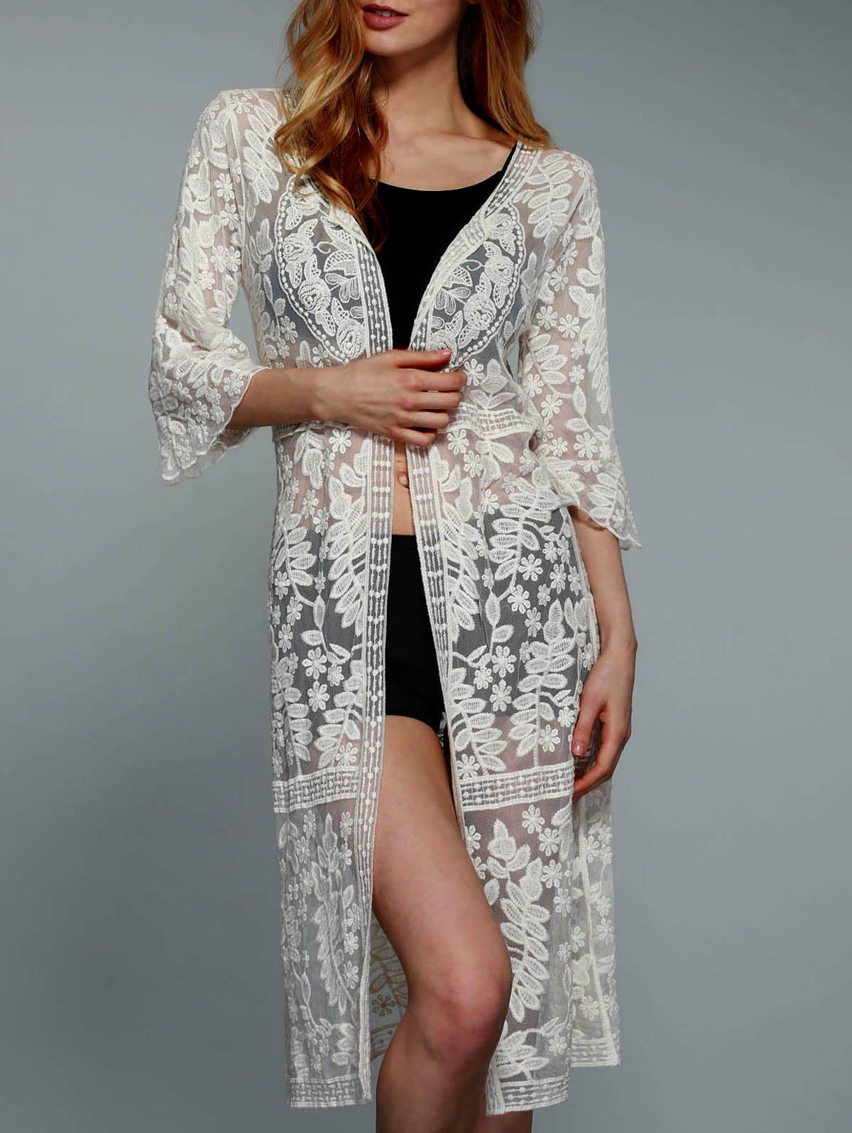 Stylish 3/4 Sleeve Solid Color Crochet Women's Cover-Up - OFF WHITE ONE SIZE(FIT SIZE XS TO M)