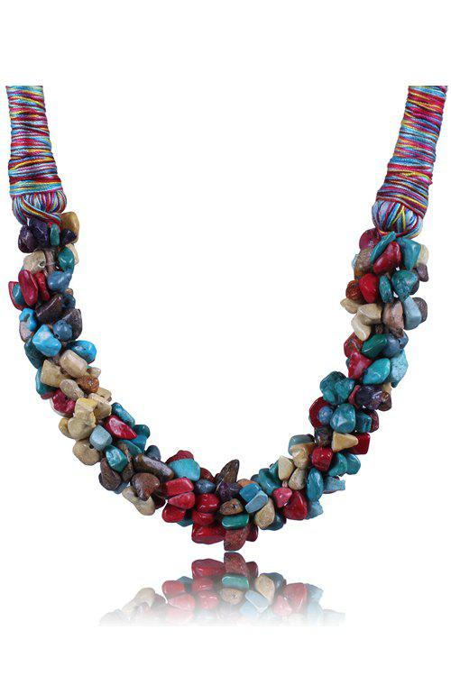 Stylish Colorful Natural Stone Stitching Necklace For Women - COLORMIX