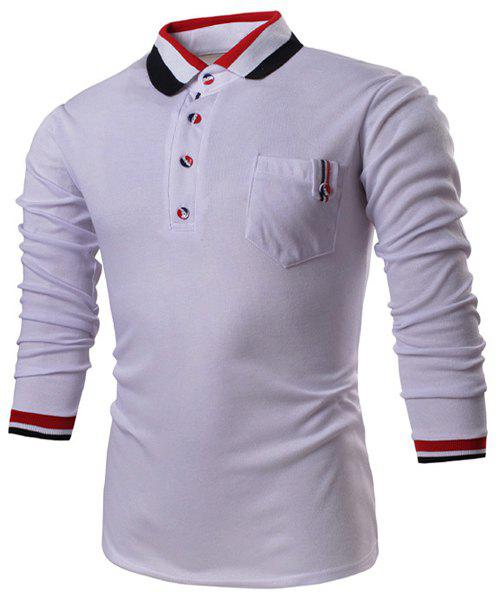 Turn-Down Collar Long Sleeve Color Block Stripe Spliced Polo Men's T-Shirt - WHITE 2XL