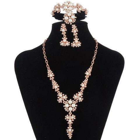 A Suit of Graceful Rhinestone Faux Pearl Necklace Bracelet Ring and Earrings For Women