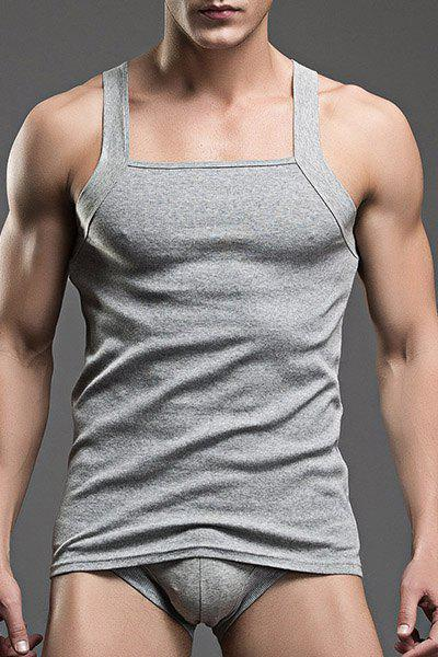 Close-Fitting Solid Color Mens Tank Toppenis Pouch -4278