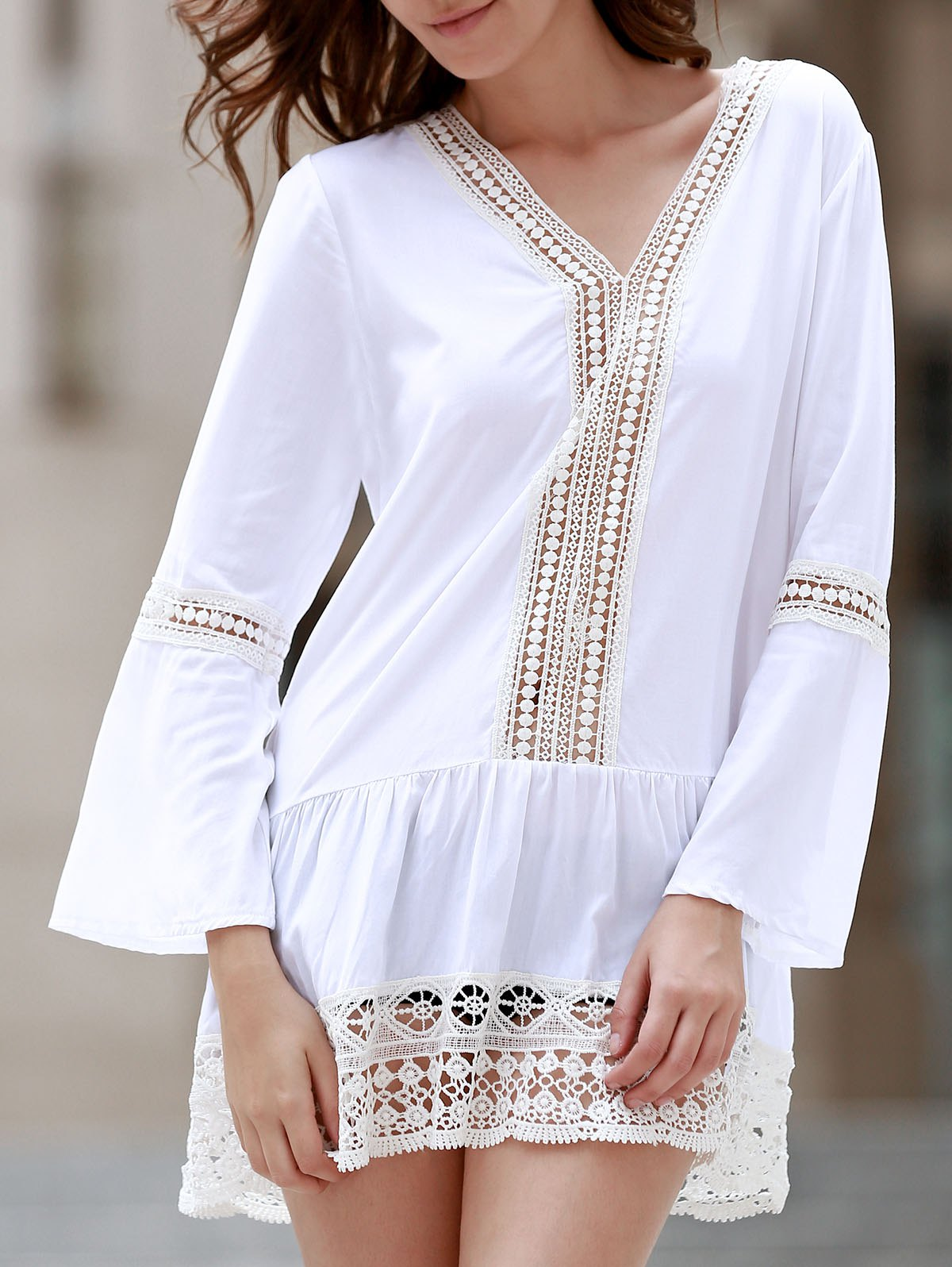 Bohemian Women's V-Neck Long Sleeve Crochet Dress - WHITE S