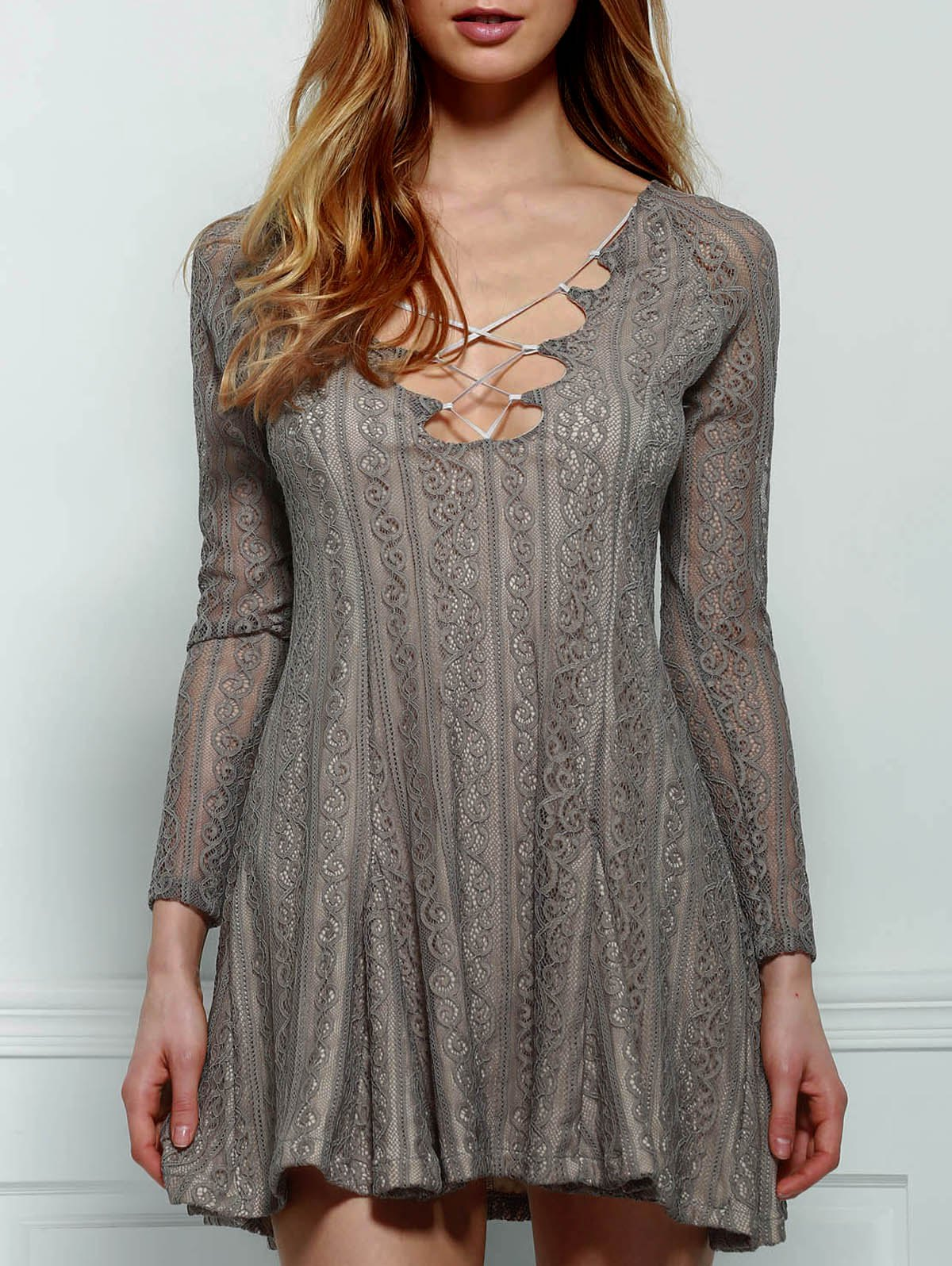 Sexy Plunging Collar Long Sleeve Solid Color Women's Lace Dress - GRAY M