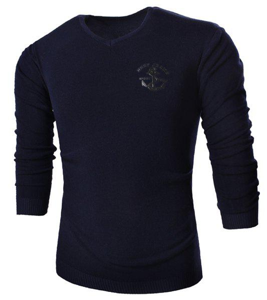 V-Neck Anchor Embroidered Slimming Long Sleeve Men's Sweater - CADETBLUE L
