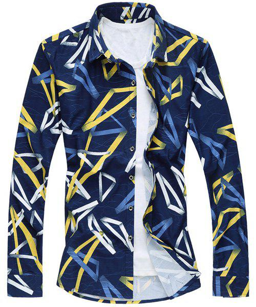 Casual Irregular Shape Printed Turn Down Collar Long Sleeves Shirt For Men - BLUE M
