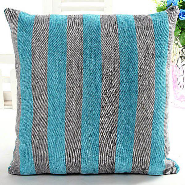 High Quality Square Shape Color Block Stripe Pattern Chenille Pillow Case(Without Pillow Inner) - COLORMIX