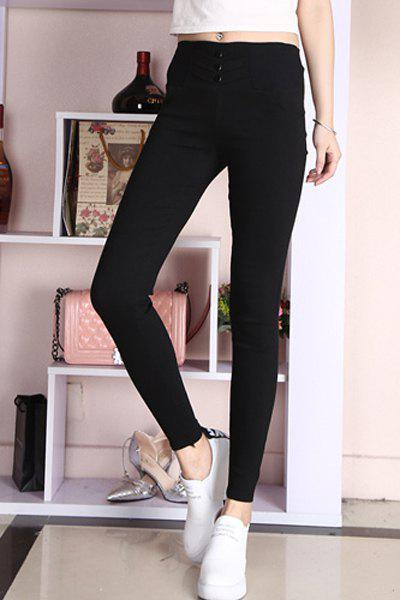 Chic Bodycon High-Waisted  Slimming Women's Pencil Pants - BLACK L