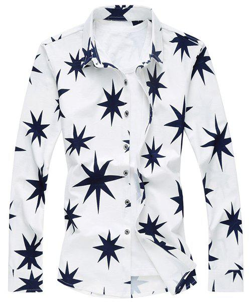 Casual Leaf Printed Turn Down Collar Long Sleeves Shirt For Men - WHITE 2XL