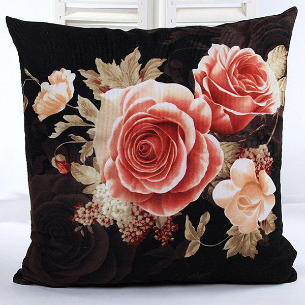High Quality Square Shape Rose Pattern Pillow Case(Without Pillow Inner) - BLACK