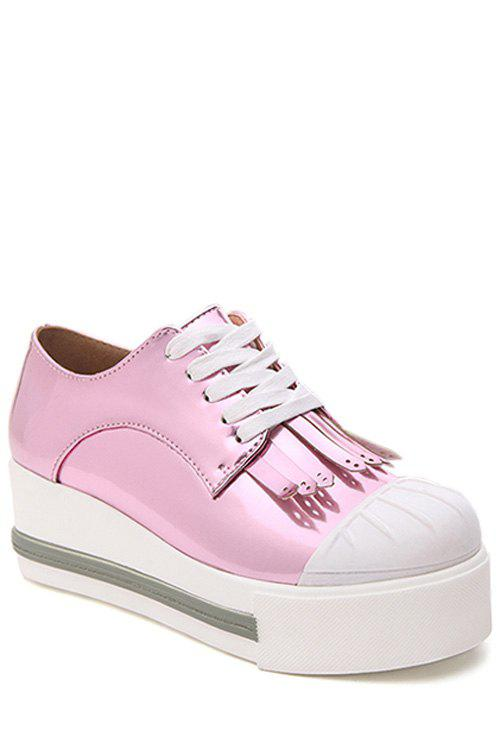Casual Fringe and Lace-Up Design Platform Shoes For Women - PINK 38