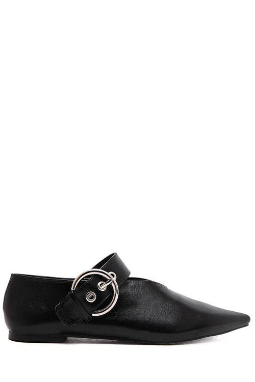 Stylish V-Shape and Buckle Design Flat Shoes For Women - BLACK 38