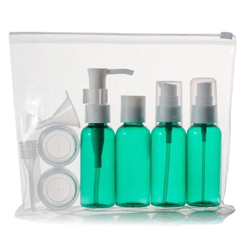 Cosmetic 9 PCS/Set Spray Bottle Latex Bottle Cream Jars Travel Split Charging Containers - GREEN