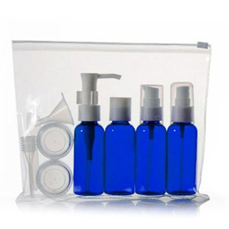 Cosmetic 9 PCS/Set Spray Bottle Latex Bottle Cream Jars Travel Split Charging Containers - BLUE