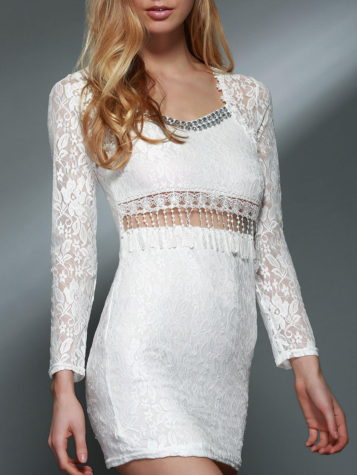 Trendy Long Sleeve Lace V-Neck Dress For Women - WHITE L