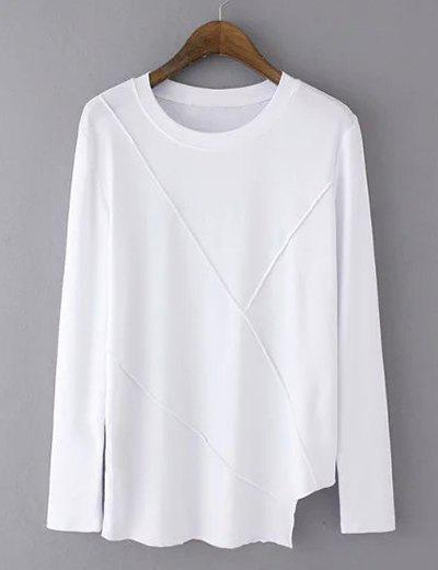 Asymmetrical Round Collar Long Sleeve Tee - WHITE S