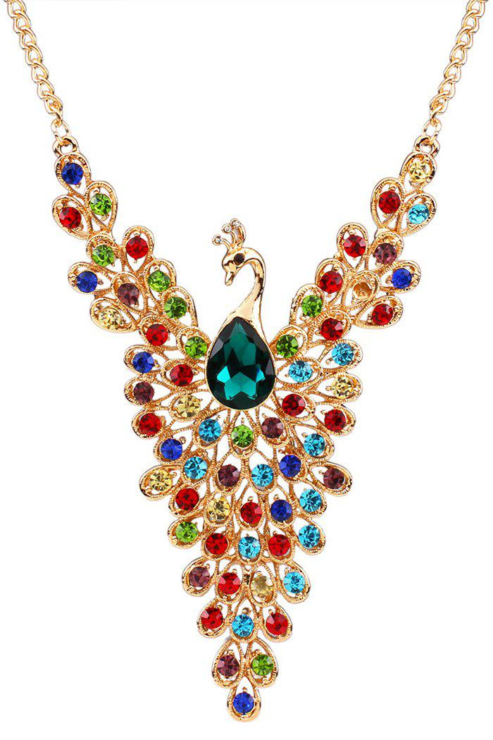 Statement Rhinestoned Peacock Necklace - COLORMIX