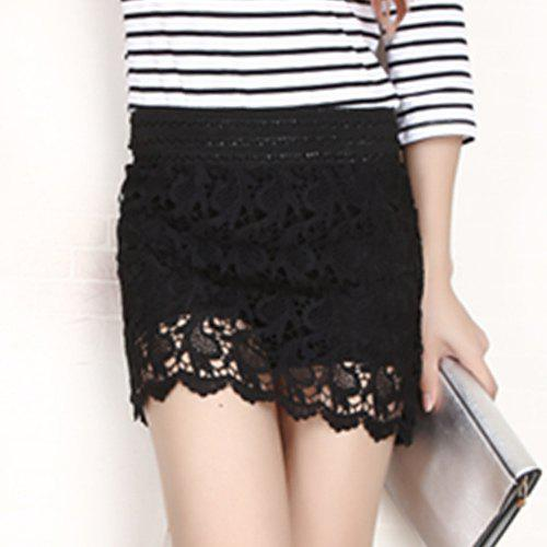 Sexy Elastic Waist Over HipWomen's Lace Skirt - BLACK ONE SIZE(FIT SIZE XS TO M)