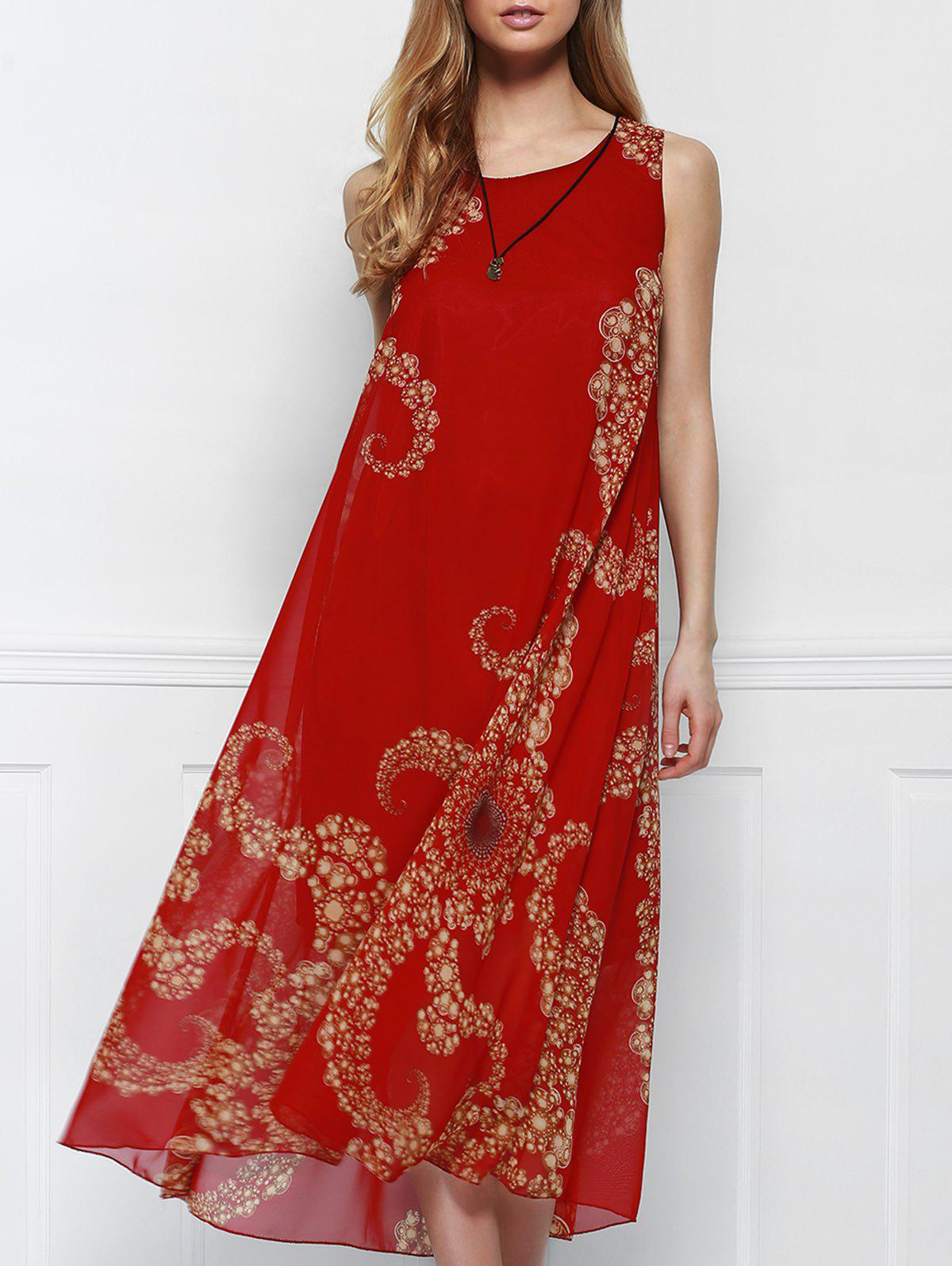 Bohemian Style Red Print Sleeveless Scoop Neck Beach Dress For Women - RED ONE SIZE(FIT SIZE XS TO M)