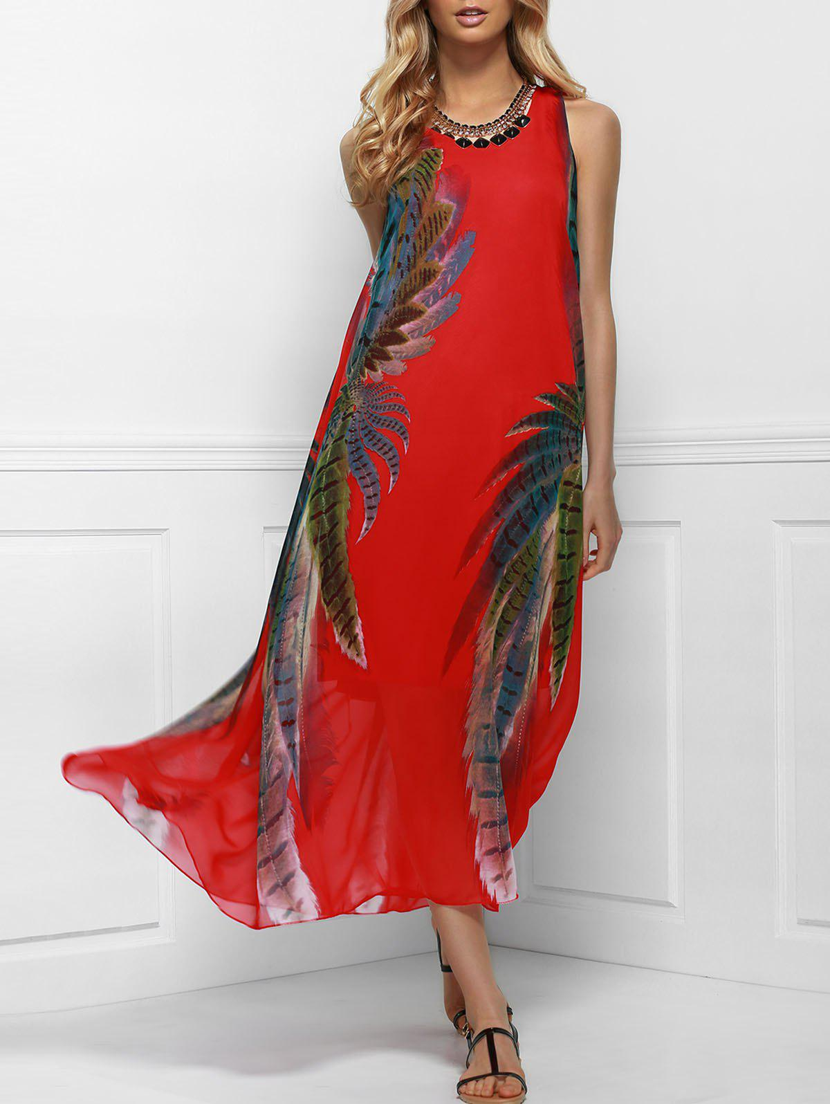 Printed Maxi Boho Swing Dress for Summer - RED ONE SIZE(FIT SIZE XS TO M)
