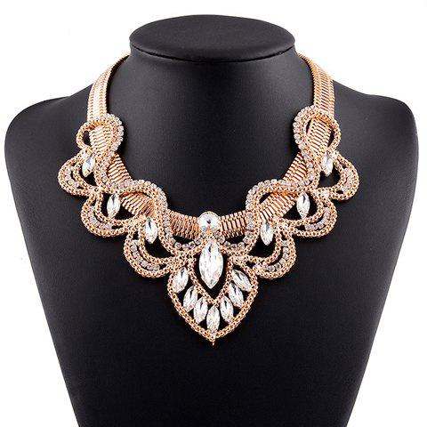 Faux Crystal Rhinestone Hollow Out Necklace - GOLDEN